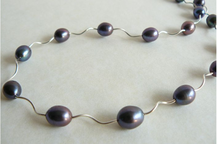 Grey Pearl & Spiral Tube Necklace