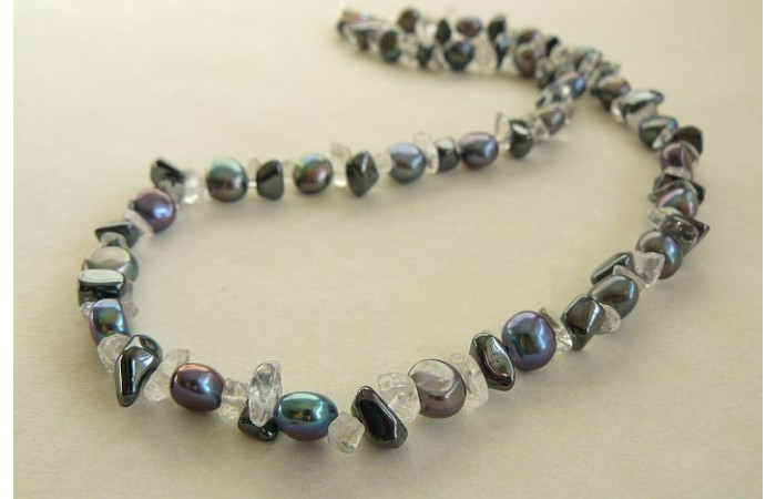 Grey Pearls & Hematite Necklace