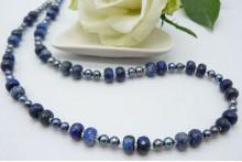 Grey Pearl & Lapis Lazuli Rondels Necklace