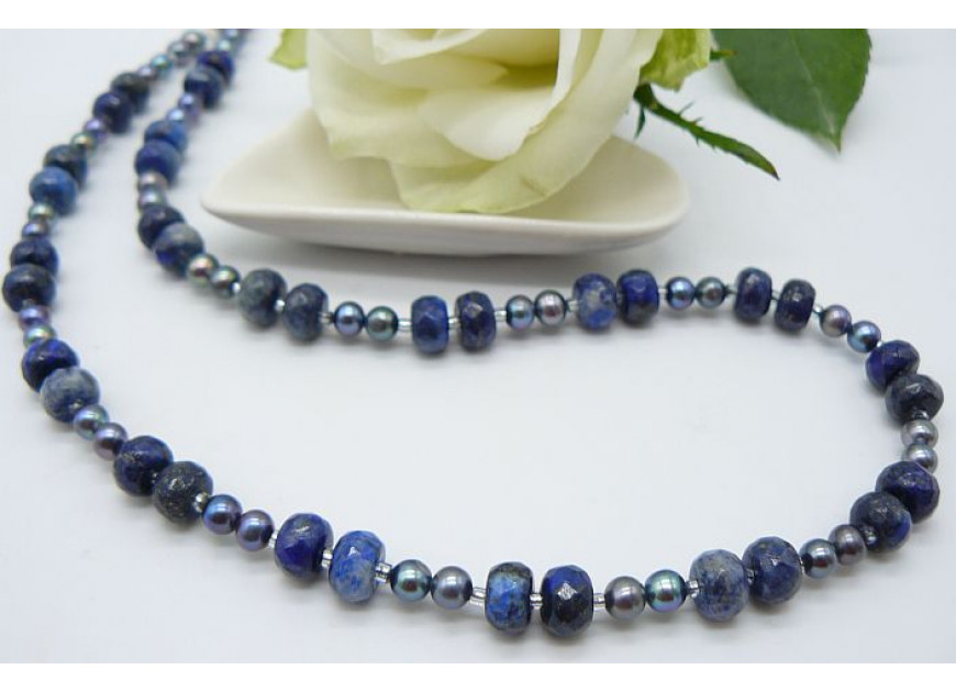 Grey Pearl & Lapis Lazuli Rondels Necklace