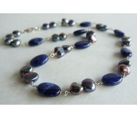 Grey Pearl & Lapis Silver Linked Necklace