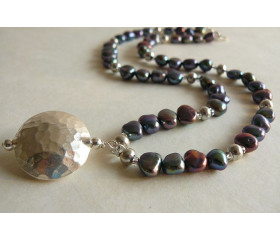 Grey Pearl & Thai Silver Hammered Disc Necklace