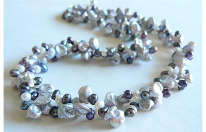 Silver Grey & White Keshi Multistrand Necklace