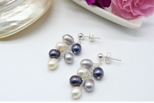 Silver Grey & White Oval Pearl Small Cluster Stud Drop Earrings