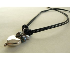 Double Black Leather and Silver Heart Necklace