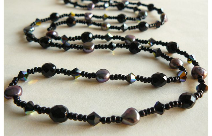 Tie or Wrap Black Swarovski Crystal Long Necklace