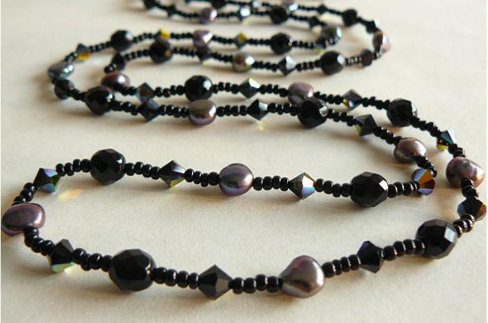Tie or Wrap Black Swarovski Crystal Long Necklace