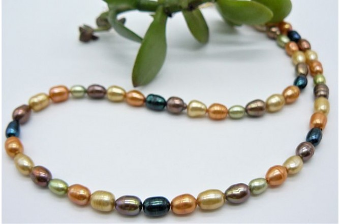 Autumn Mix Oval Pearl Necklace