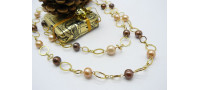 Bronze & Gold Round Pearl Necklace on Gold Plated Chain
