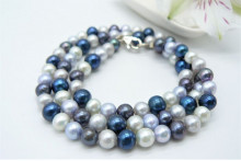 Mixed Blue & Silver Pearl Necklace