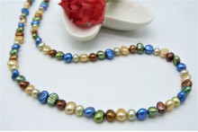 Mixed Bronze, Greens & Blue Pearl Necklace