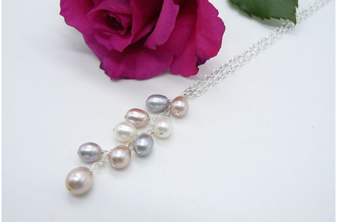 Silver Pink & White Oval Pearl Cluster Necklace on Silver Chain