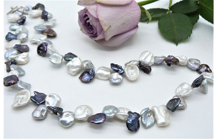 White Silver & Grey Large Keshi Pearl Necklace
