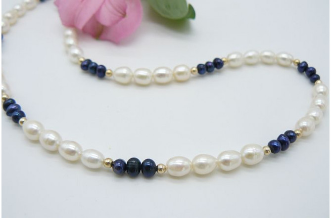 White & Blue Pearl Necklace
