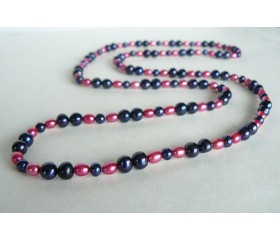 Blue & Pink Long Pearl Necklace