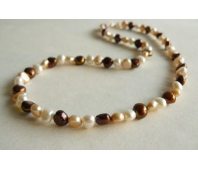 Bronze White & Gold Pearl Necklace