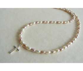White & Pink Pearl & Silver Cross Necklace