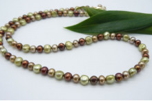 Bronze Gold & Green Mixed Pearl Necklace