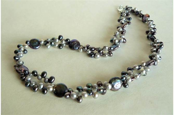 Grey & Silver Head-Drill & Coin Pearl Necklace