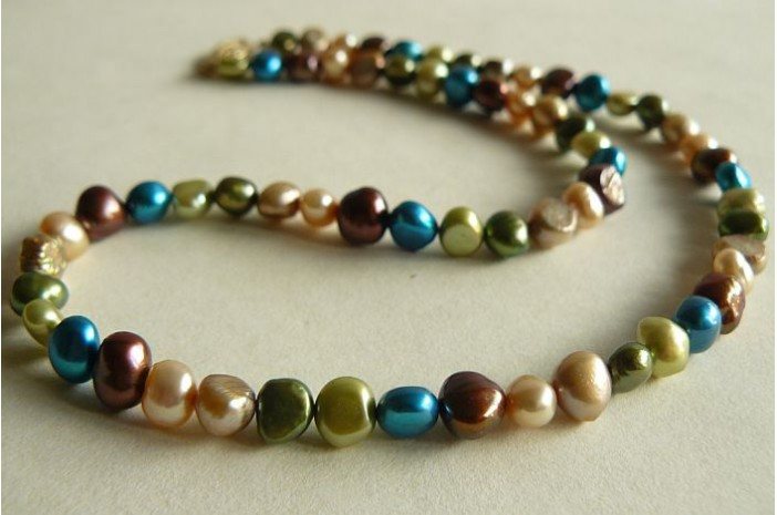 Mixed Greens, Bronze & Turquoise Necklace