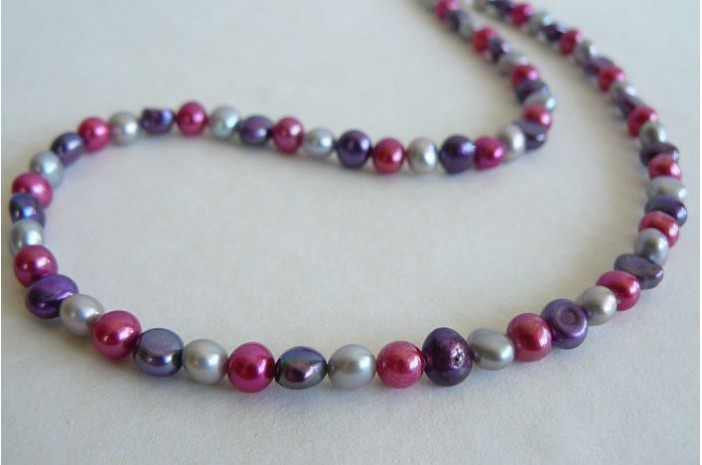Pink Purple & Silver Pearl Necklace