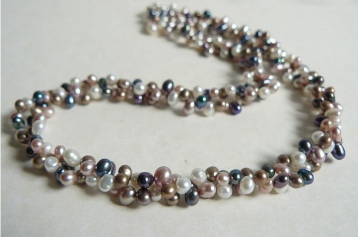 Pink White Grey & Coffee Head-Drill Pearl Two Strand Necklace