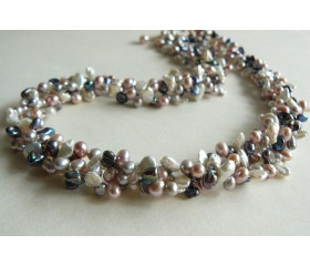 Three Strand Pink White Grey & Silver Keshi Twisted Necklace
