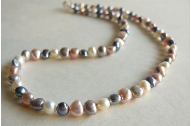 Pink White Grey & Silver Pearl Necklace