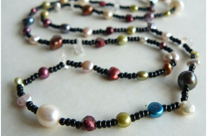 Tie or Wrap Mixed Pearl & Black Bead Necklace