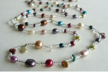 Tie or Wrap Mixed Pearl & Clear Bead Long Necklace