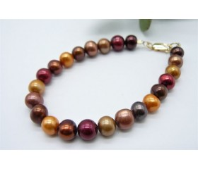 Orange Autumn Pearl Bracelet