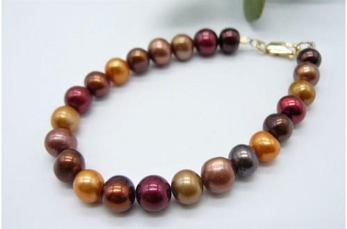 Orange Autumn Pearl Bracelet