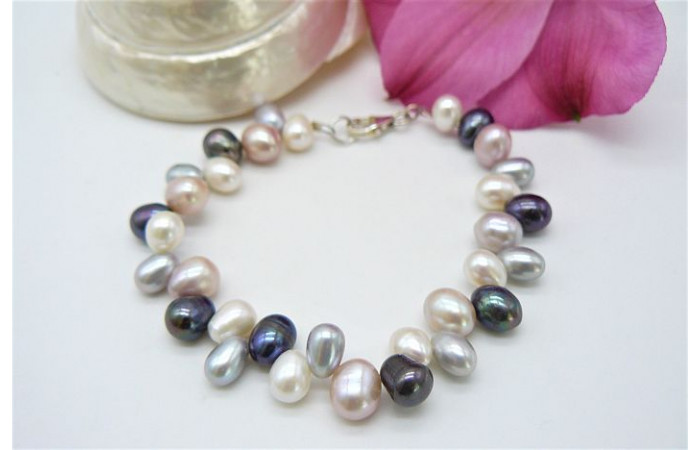 Pink White Grey & Silver Pearl Head-Drilled Bracelet