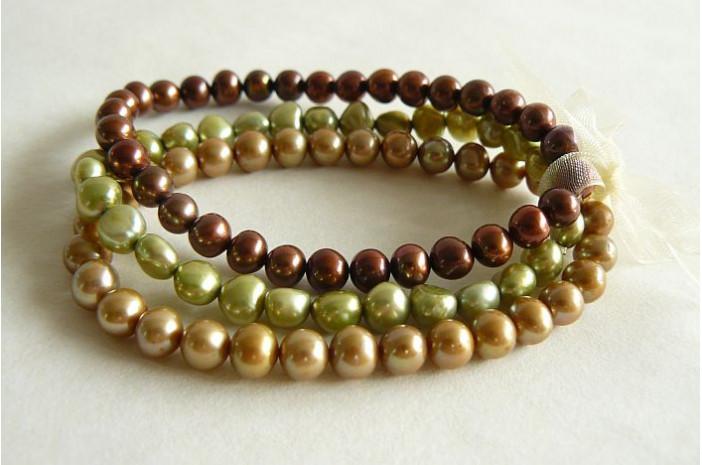 Bronze, Green & Gold Elastic Bracelets x 3