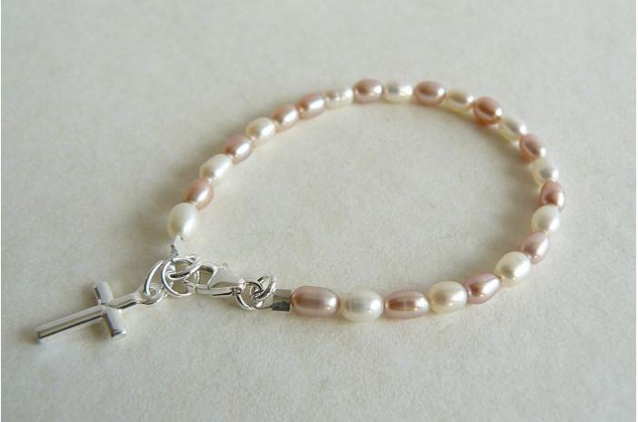 White & Pink Pearl & Silver Cross Bracelet