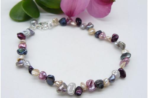 Pink & Mixed Pearl Keshi Bracelet