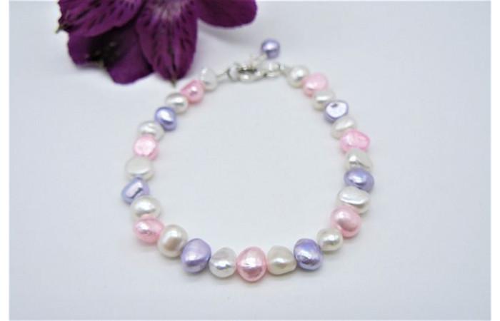 White Pink & Lilac Children's Bracelet