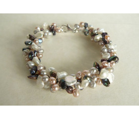 Pink White Grey & Coffee Head-Drill Pearl Two Strand Bracelet