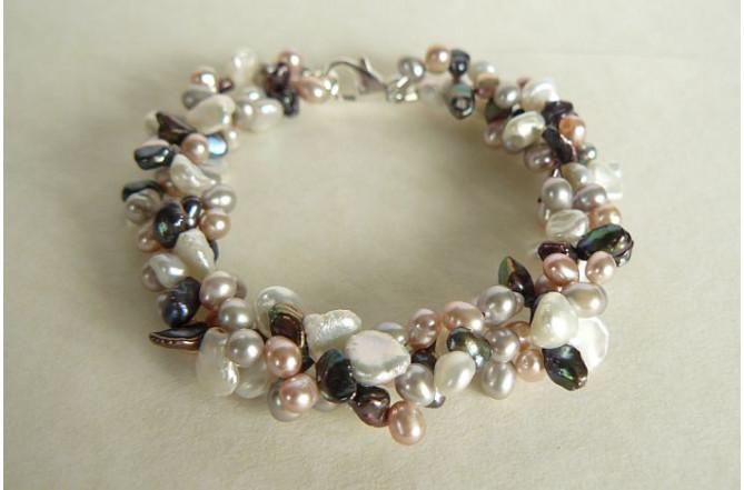 Three Strand Pink White Grey & Silver Keshi Pearl Bracelet