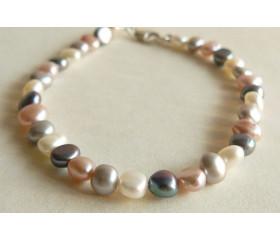 Pink White Grey & Silver Pearl Bracelet