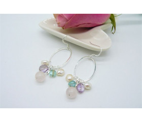 Rose Quartz & Pearl Mix Hoop Drop Earrings
