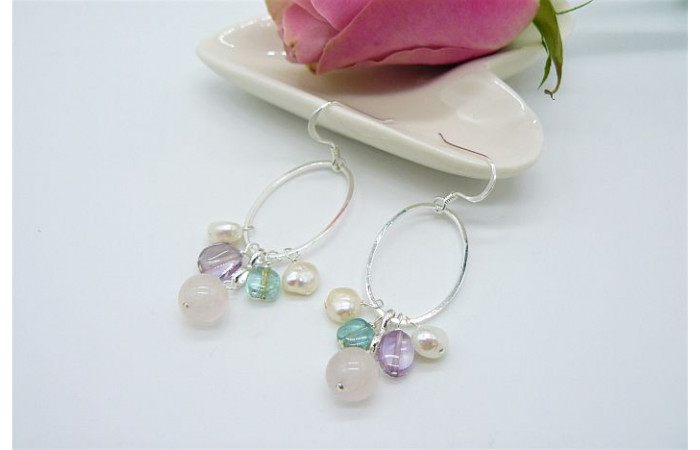 Rose Quartz & Pearl Mix Hoop Drop Earrings