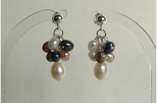 Mixed Pearl Small Cluster Stud Drop Earrings