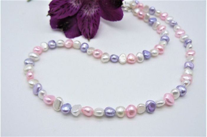 White Pink & Lilac Children's Necklace