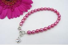 Children's Bright Pink Smallest Oval Pearl & Silver Heart Bracelet