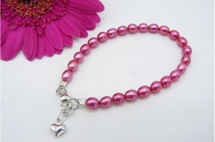 Children's Bright Pink Smallest Oval Pearl & Silver Heart Bracelet