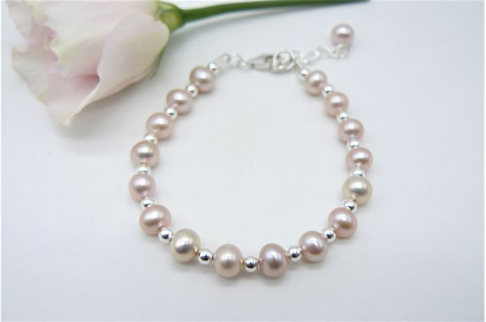 Children's Small Pink Pearl & Sterling Silver Bead Bracelet