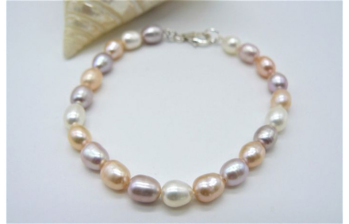 Natural Colour Small Oval Pearl Bracelet