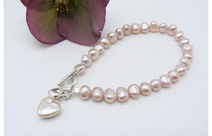 Pink Small Baroque Nugget Pearl Bracelet and Pearl Heart Drop