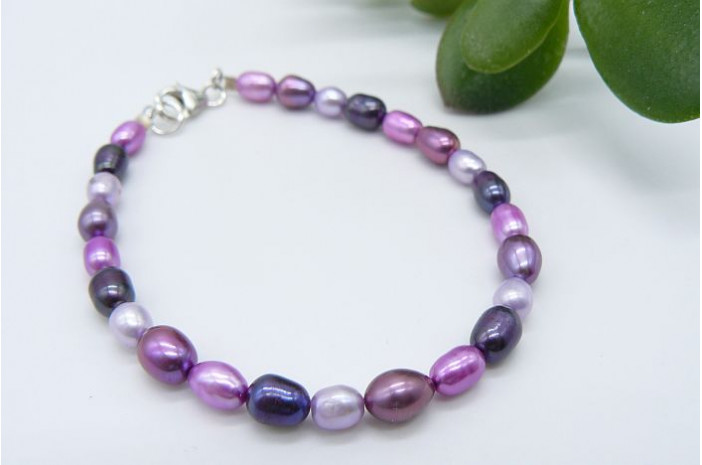 Mixed Pink & Purple Small Oval Pearl Bracelet